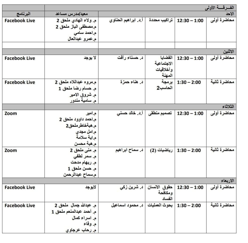 جدول محاضرات وسكاشن الفرقه الاولى الاونلاين