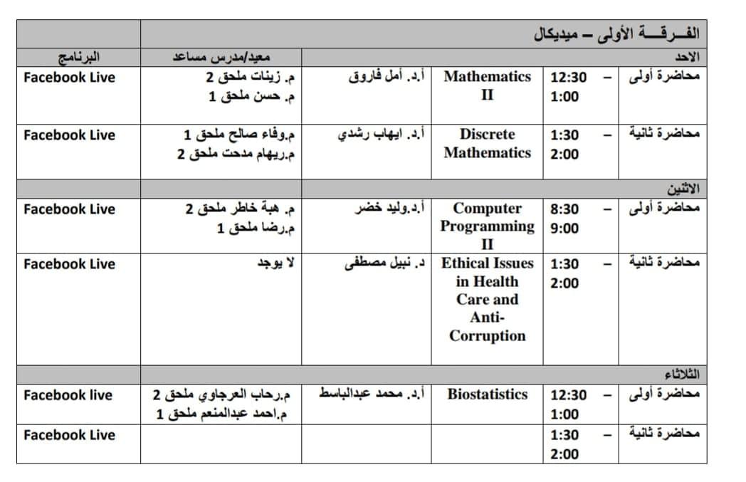 جدول محاضرات وسكاشن الفرقه الاولى-ميديكال الاونلاين