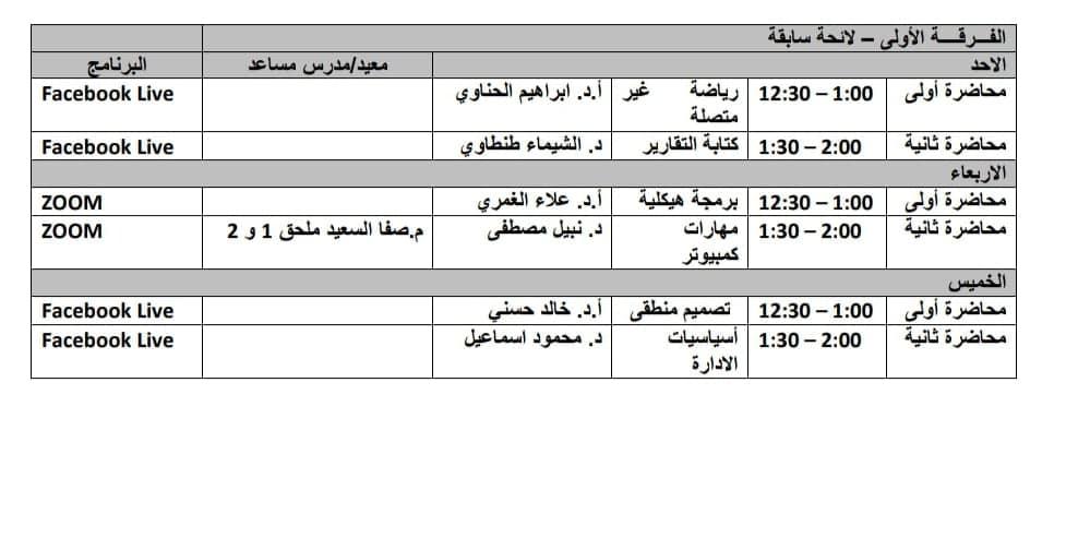 جدول محاضرات وسكاشن الفرقه الاولى-لائحة سابقة الاونلاين