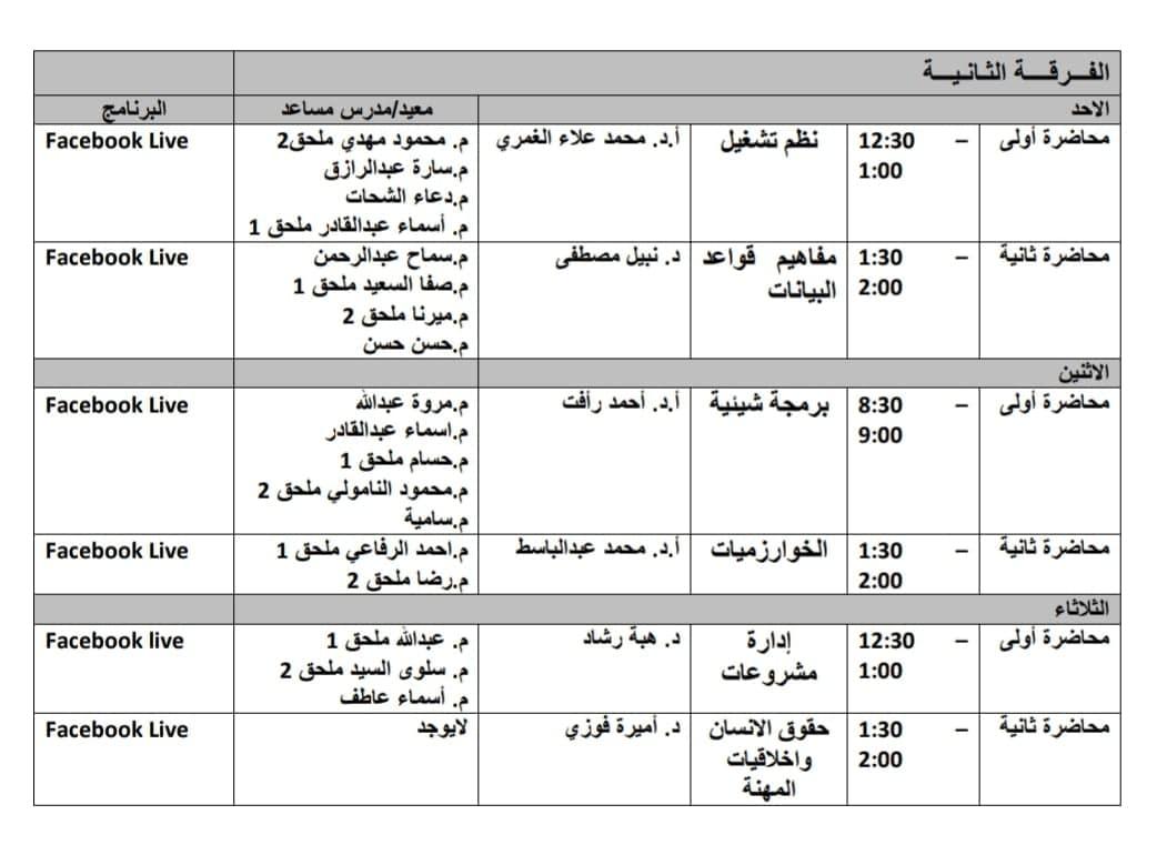 جدول محاضرات وسكاشن الفرقه الثانية الاونلاين