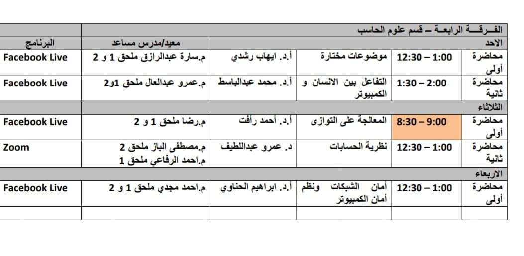 جدول محاضرات وسكاشن الفرقه الرابعة-قسم علوم الحاسب الاونلاين