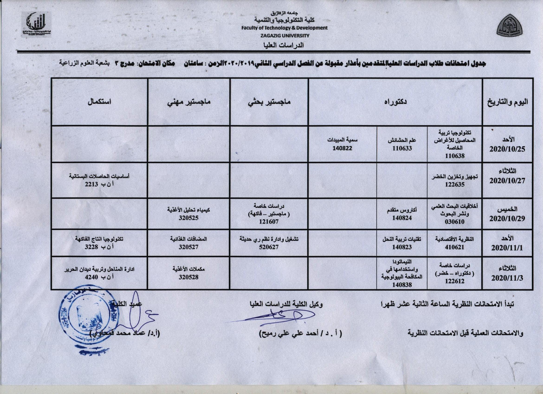 جدول امتحانات طلاب الدراسات العليا المتقدمين بأعذار مقبولة عن الفصل الدراسي الثاني 2019/2020م.