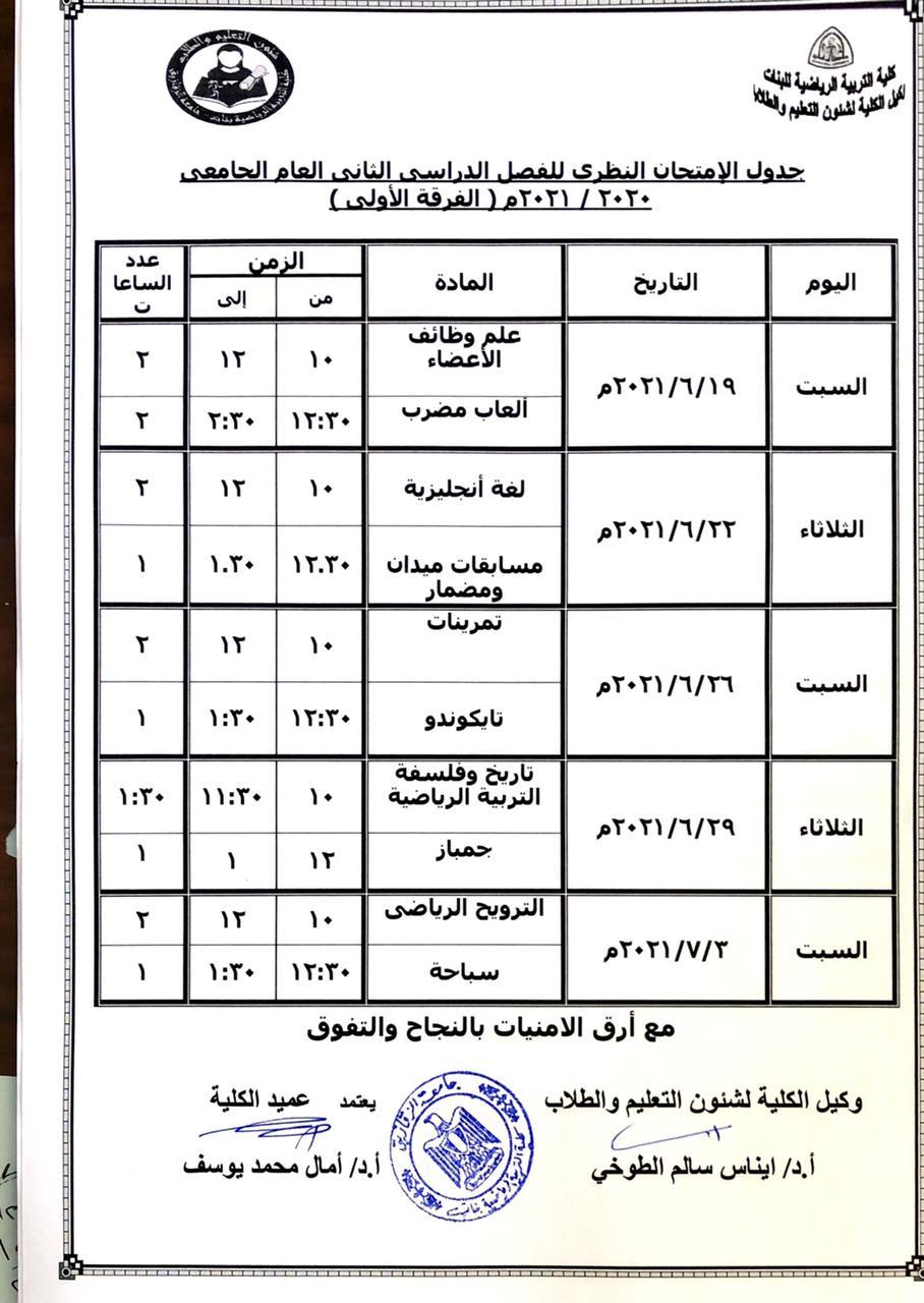 جدول الامتحان النظري للفصل الدراسي الثاني العام الجامعي 2020-2021 (الفرقة الاولي)