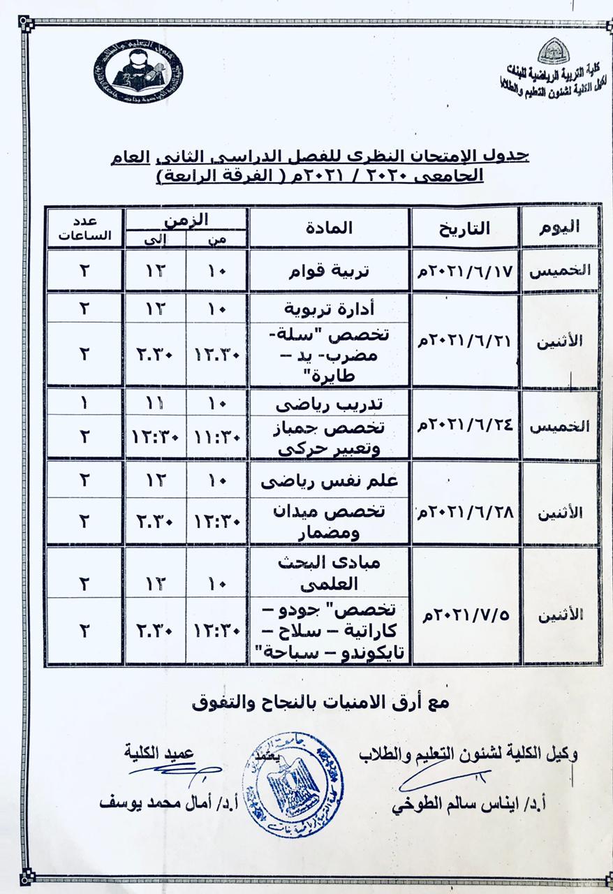 جدول الامتحان النظري للفصل الدراسي الثاني العام الجامعي 2020-2021 (الفرقة الرابعة)