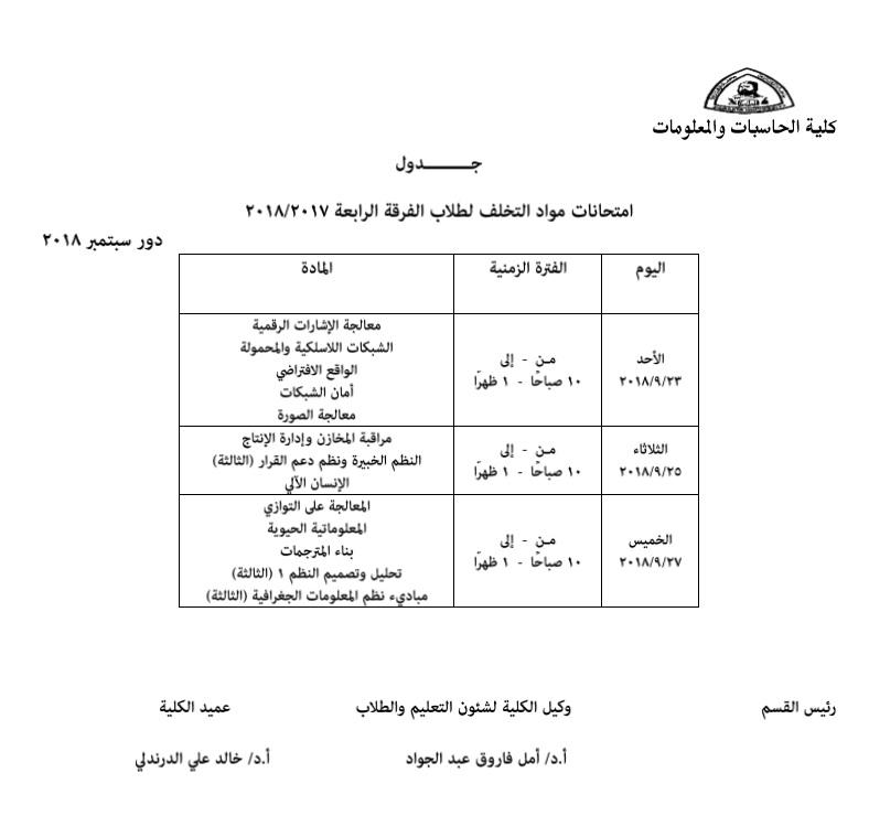 جدول دور سبتمر وقوائم الطلاب الذين لديهم مواد تخلف