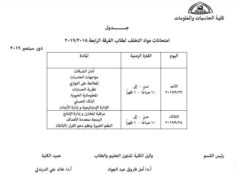 جدول امتحانات مواد التخلف لطلاب الفرقة الرابعة 2018-2019 دور سبتمبر 2019